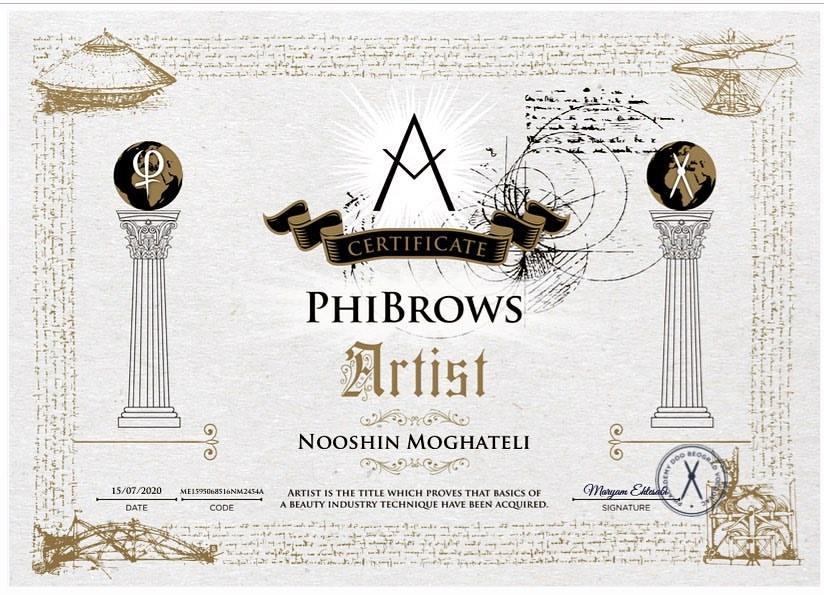 Nooshin javaherian Worldwide PhiBrows Certificate