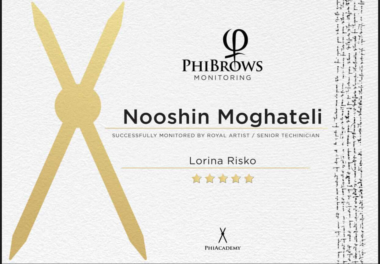Nooshin's PhiBrows Monitoring Certificate
