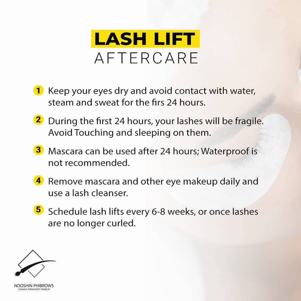LASHLIFT aftercare – Microblading – Canada Makeup – lash lift – lass care – Canada Makeup – NOOSHIN JAVAHERIAN